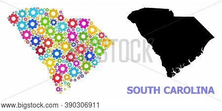 Vector Mosaic Map Of South Carolina State Combined For Mechanics. Mosaic Map Of South Carolina State