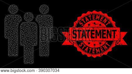 Mesh Web People On A Black Background, And Statement Grunge Ribbon Seal Imitation. Red Stamp Include
