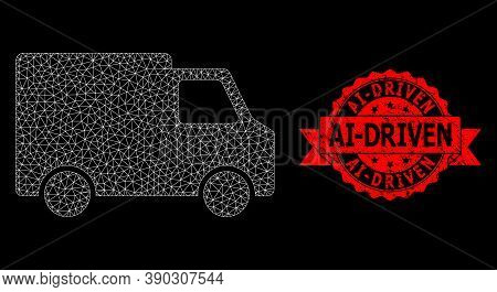 Mesh Polygonal Van Car On A Black Background, And Ai-driven Grunge Ribbon Stamp. Red Seal Contains A