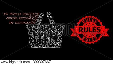 Mesh Polygonal Shopping Basket On A Black Background, And Rules Scratched Ribbon Seal Imitation. Red