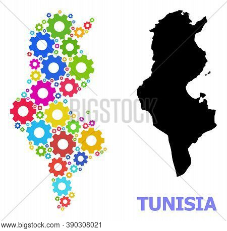 Vector Mosaic Map Of Tunisia Created For Industrial Apps. Mosaic Map Of Tunisia Is Formed From Rando