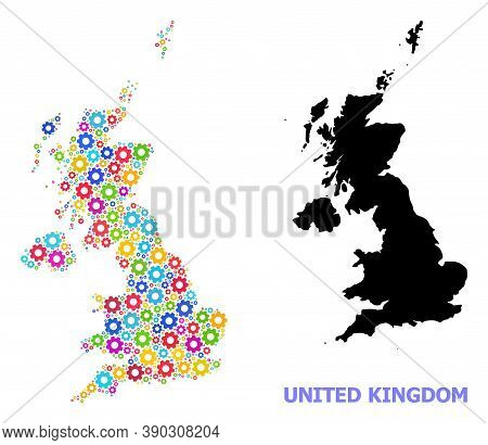Vector Mosaic Map Of United Kingdom Constructed For Engineering. Mosaic Map Of United Kingdom Is For