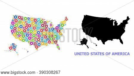 Vector Collage Map Of Usa Territories Designed For Workshops. Mosaic Map Of Usa Territories Is Desig