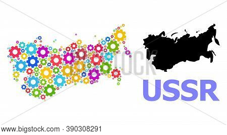 Vector Mosaic Map Of Ussr Organized For Engineering. Mosaic Map Of Ussr Is Done With Random Bright C