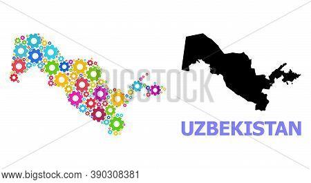 Vector Mosaic Map Of Uzbekistan Combined For Workshops. Mosaic Map Of Uzbekistan Is Constructed From