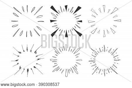 Set Of Hand Drawn Vector Of Sunburst Template, Isolated On White Background.