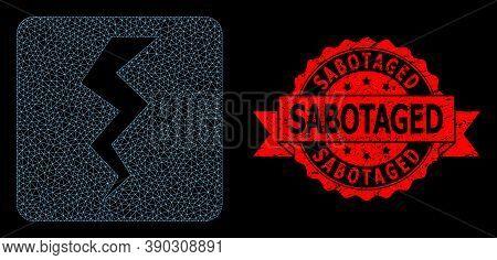 Mesh Polygonal Thunder Crack On A Black Background, And Sabotaged Grunge Ribbon Stamp Seal. Red Stam