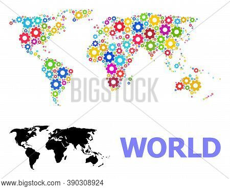 Vector Mosaic Map Of World Organized For Engineering. Mosaic Map Of World Is Organized From Random B