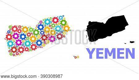 Vector Mosaic Map Of Yemen Designed For Mechanics. Mosaic Map Of Yemen Is Created From Random Bright