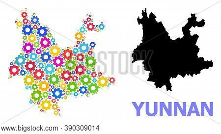 Vector Mosaic Map Of Yunnan Province Done For Engineering. Mosaic Map Of Yunnan Province Is Composed