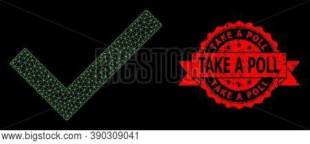 Mesh Polygonal Yes Tick On A Black Background, And Take A Poll Unclean Ribbon Stamp Seal. Red Stamp