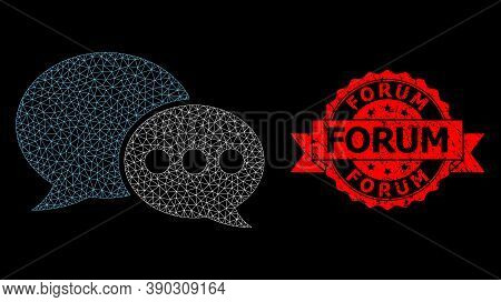 Mesh Network Forum Messages On A Black Background, And Forum Textured Ribbon Seal Print. Red Stamp S