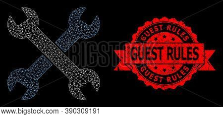 Mesh Polygonal Spanners On A Black Background, And Guest Rules Dirty Ribbon Stamp Seal. Red Stamp In
