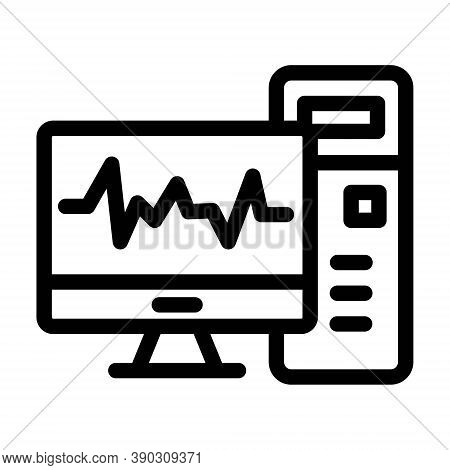 Medical Diagnosis On Monitor Icon. Electrocardiogram Sign.