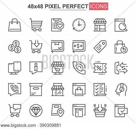 E-commerce Thin Line Icon Set. Online Shopping Outline Pictograms For Website And Mobile App Gui. Or