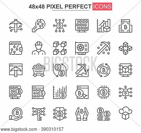 Bitcoin Mining Thin Line Icon Set. Cryptocurrency Fintech Outline Pictograms For Web And Mobile App