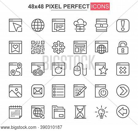 Website Ui Thin Line Icon Set. User Menu And Interface Navigation Outline Pictograms For Web And Mob