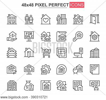 Real Estate Thin Line Icons Set. Commercial And Residential Building, Mortgage And Rent Services Uni