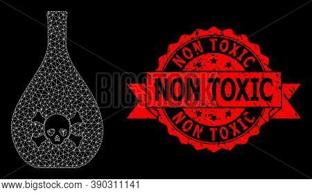 Mesh Polygonal Poison Jug On A Black Background, And Non Toxic Grunge Ribbon Seal Imitation. Red Sta