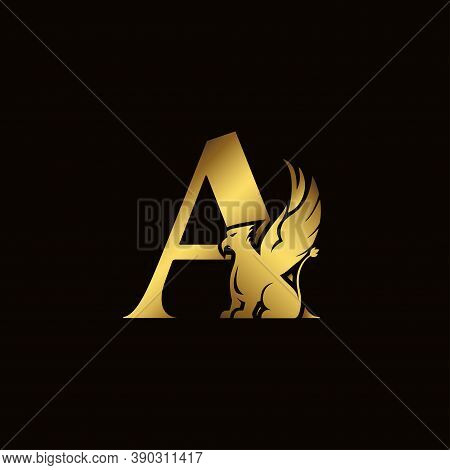 Griffin Silhouette Inside Gold Letter A. Heraldic Symbol Beast Ancient Mythology Or Fantasy. Creativ