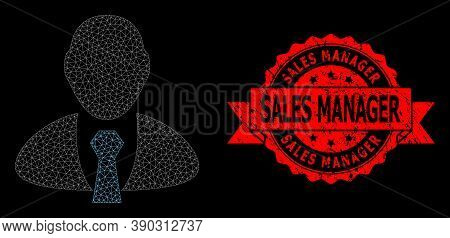 Mesh Net Manager On A Black Background, And Sales Manager Rubber Ribbon Stamp. Red Stamp Has Sales M
