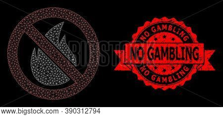 Mesh Polygonal Forbidden Fire On A Black Background, And No Gambling Textured Ribbon Seal Imitation.