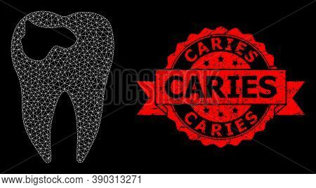 Mesh Polygonal Tooth Caries On A Black Background, And Caries Scratched Ribbon Seal Imitation. Red S