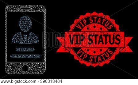 Mesh Network Mobile User Info On A Black Background, And Vip Status Dirty Ribbon Stamp Seal. Red Sta