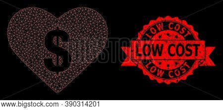 Mesh Polygonal Love Price On A Black Background, And Low Cost Unclean Ribbon Seal. Red Seal Contains