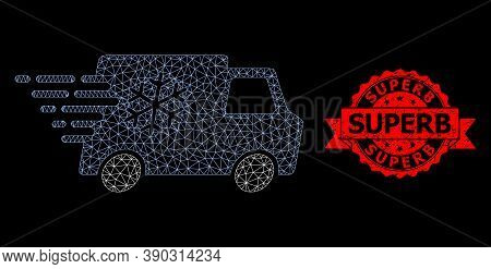 Mesh Net Refrigerator Car On A Black Background, And Superb Scratched Ribbon Seal. Red Stamp Seal Ha