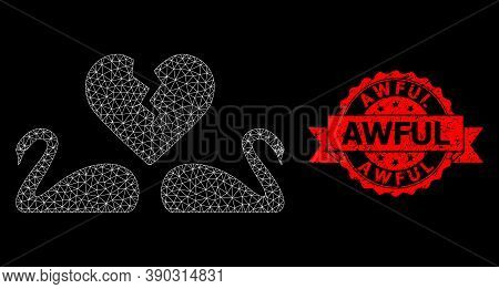 Mesh Polygonal Divorce Swans On A Black Background, And Awful Unclean Ribbon Seal. Red Seal Includes