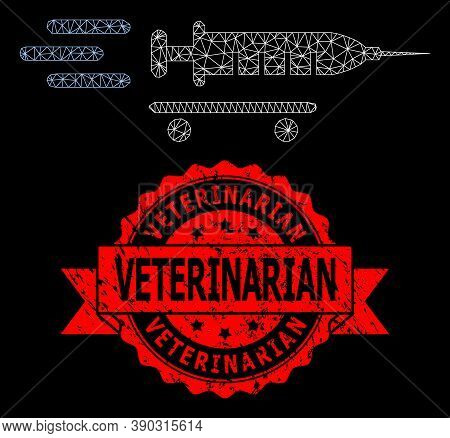 Mesh Network Vaccine Delivery On A Black Background, And Veterinarian Textured Ribbon Stamp. Red Sta