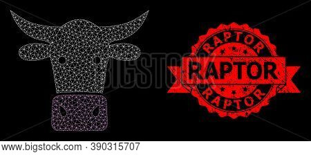 Mesh Polygonal Cow Head On A Black Background, And Raptor Corroded Ribbon Seal Print. Red Seal Conta