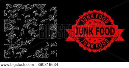 Mesh Network Destructed On A Black Background, And Junk Food Scratched Ribbon Stamp Seal. Red Stamp