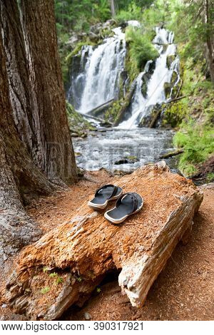 Black And White Flip-flops Laying On A Decomposing Log Next To National Creek Falls In The Rogue Riv