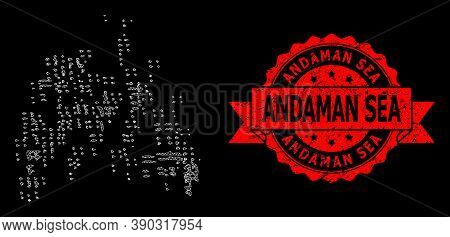 Mesh Web Sand Swarm On A Black Background, And Andaman Sea Rubber Ribbon Stamp. Red Stamp Seal Inclu