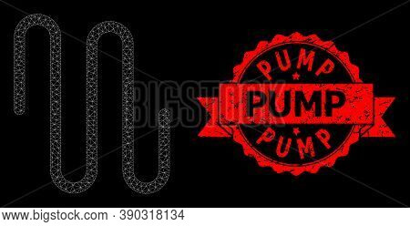 Mesh Network Pipe On A Black Background, And Pump Unclean Ribbon Stamp Seal. Red Stamp Seal Has Pump