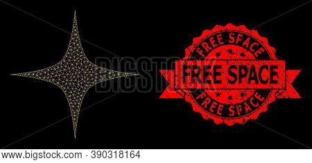 Mesh Polygonal Space Star On A Black Background, And Free Space Corroded Ribbon Stamp Seal. Red Seal