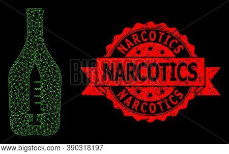 Mesh Polygonal Narcotic Alcohol On A Black Background, And Narcotics Scratched Ribbon Stamp Seal. Re