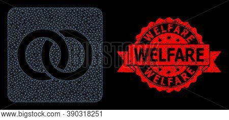 Mesh Network Wedding Rings On A Black Background, And Welfare Textured Ribbon Seal Imitation. Red Se