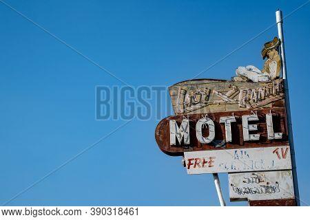 Vernal, Utah - September 20, 2020: Neon Sign For The Lazy K Ranch Motel