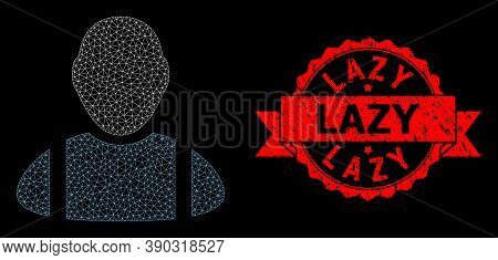 Mesh Polygonal Worker On A Black Background, And Lazy Unclean Ribbon Seal Print. Red Stamp Seal Cont
