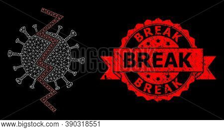 Mesh Polygonal Virus Break On A Black Background, And Break Scratched Ribbon Stamp Seal. Red Stamp S