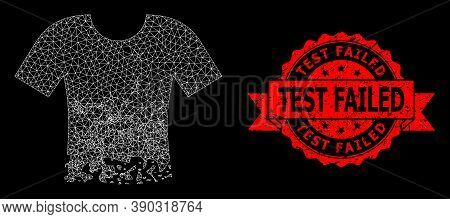 Mesh Polygonal Ragged T-shirt On A Black Background, And Test Failed Corroded Ribbon Stamp. Red Stam