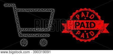Mesh Network Shopping Cart On A Black Background, And Paid Grunge Ribbon Stamp. Red Stamp Seal Has P
