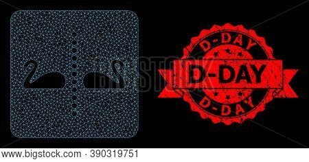 Mesh Network Separate Swans On A Black Background, And D-day Grunge Ribbon Seal Print. Red Seal Incl