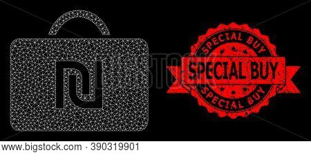 Mesh Web Shekel Case On A Black Background, And Special Buy Grunge Ribbon Seal Print. Red Stamp Seal