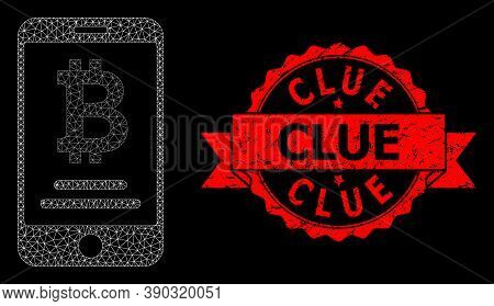Mesh Net Mobile Bitcoin Account On A Black Background, And Clue Dirty Ribbon Seal Print. Red Stamp S