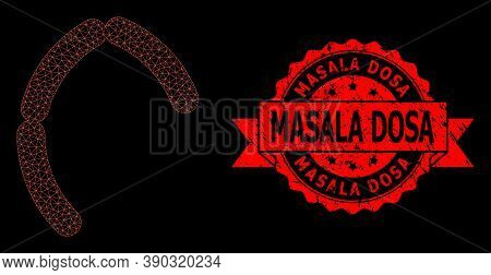 Mesh Polygonal Sausages On A Black Background, And Masala Dosa Textured Ribbon Seal Imitation. Red S