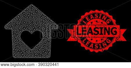 Mesh Polygonal Lovely House On A Black Background, And Leasing Dirty Ribbon Seal Print. Red Seal Has